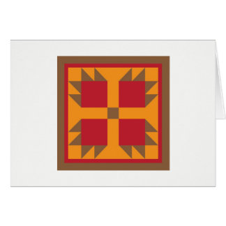 Quilt Note Cards - Bear Paw (red/gold)