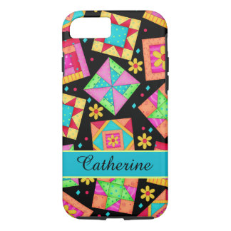 Quilt Patchwork Block Art Black Personalized Name iPhone 8/7 Case