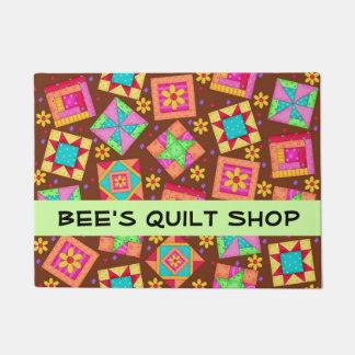 Quilt Patchwork Blocks Brown Store Name Doormat