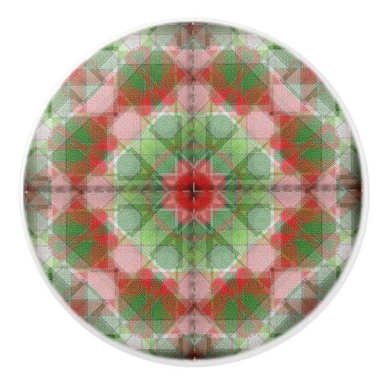 Quilt pattern ceramic knob red white