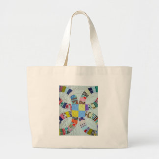 Quilt pattern large tote bag