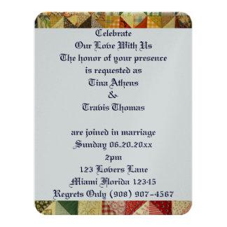 "Quilt Pattern Love Wedding Bride Groom Peace 4.25"" X 5.5"" Invitation Card"