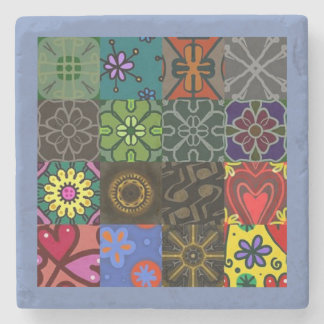 Quilt Pattern Square Stone Coaster