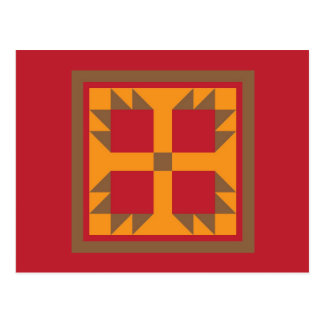 Quilt Postcard - Bear Paw Block (gold, red, brown)