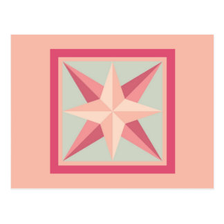 Quilt Postcard - Beveled Star (pink/grey)