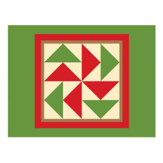Quilt Postcard - Dutchman's Puzzle (red/green)