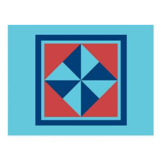 Quilt Postcard - Pinwheel (navy/red)