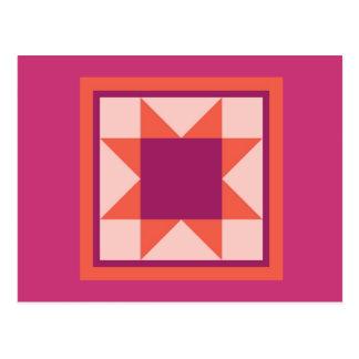 Quilt Postcard - Sawtooth Star (pink)
