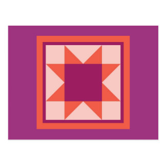 Quilt Postcards - Sawtooth Star (pink/orange)