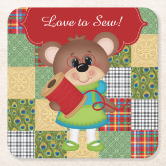 Quilt Squares Funny Quilting Sewer Bear Coaster