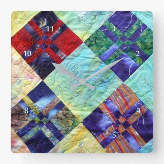 Quilt Squares Image In Batiks Square Wall Clock