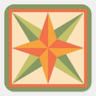 Quilt Stickers - Beveled Star (orange/green)