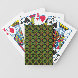 Quilt Style Pattern in Green and Black Bicycle Playing Cards