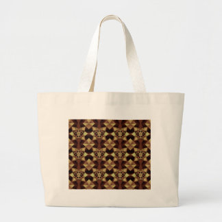 Quilt Style Pattern in Maroon and Tan Large Tote Bag