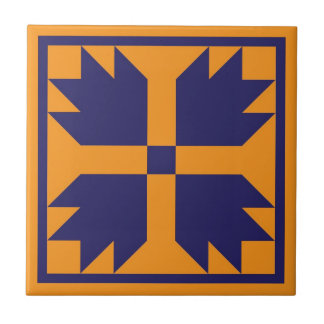 Quilt Trivet – Bear Paw Block (blue/gold)