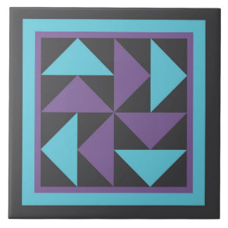 Quilt Trivet - Dutchman's Puzzle (purple/black)