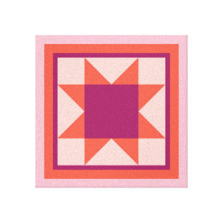 Quilt Wall Canvas - Sawtooth Star (pink/orange)