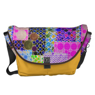 Quilted Abstract Pattern Messenger Bag