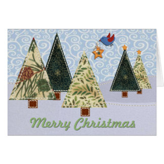 Quilted Christmas Trees and Blue Bird Card