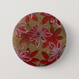 Quilted Flowers - Hand Carved Block - Red Pink 2 Inch Round Button
