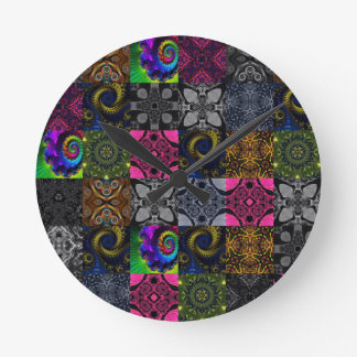 Quilted Fractal Kaleidoscope Round Clock
