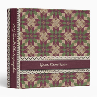 Quilted Green Burgundy Star 3 Ring Binder