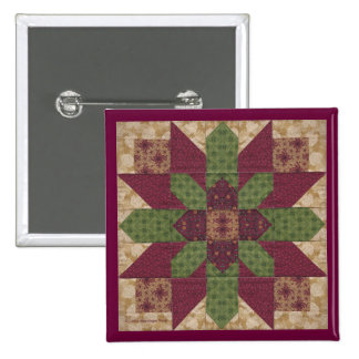 Quilted Green Burgundy Star Button
