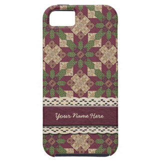Quilted Green Burgundy Star iPhone 5 Cover