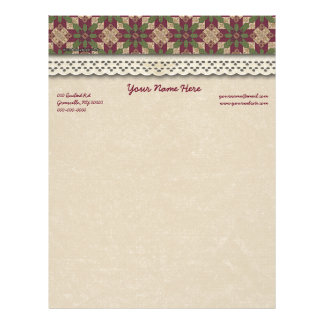 Quilted Green Burgundy Star Letterhead Design