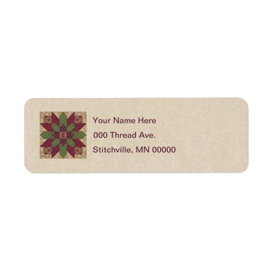 Quilted Green Burgundy Star Return Address Label