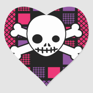 Quilted Houndstooth & Skulls Heart Sticker