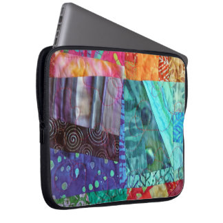Quilted Look Of Colorful Batik Squares Photo Laptop Sleeves