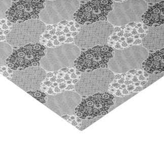 Quilted Moroccan Pattern Gray Floral Tissue Paper