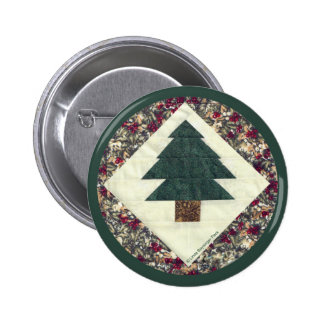 Quilted Pine Tree 2 Inch Round Button