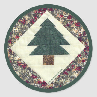 Quilted Pine Tree Classic Round Sticker