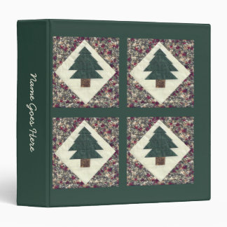 Quilted Pine Trees 3 Ring Binder