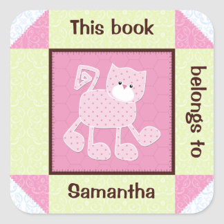 Quilted Pink Cat Book Sticker