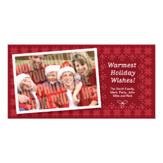 Quilted Red Holiday Photocard Card