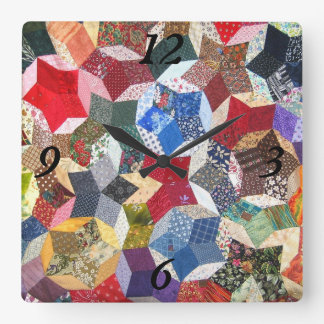 Quilted Stars Square Wall Clock