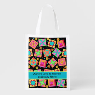 Quilters Love to Recycle Fabric Black Quilt Art Reusable Grocery Bags