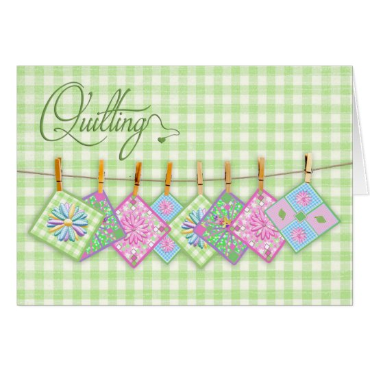 Quilting Blank Card - Quilt Squares on Clothesline