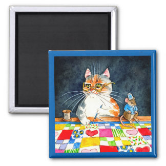 Quilting cat and mouse magnet