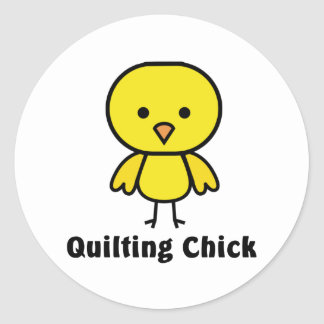 Quilting Chick Classic Round Sticker