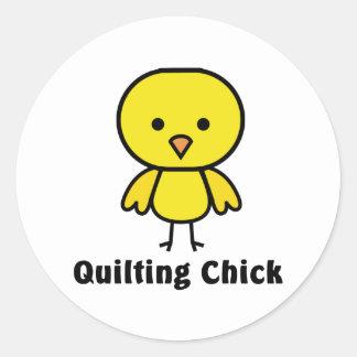 Quilting Chick Round Sticker