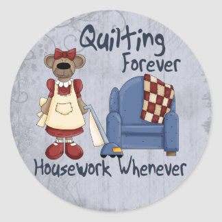 Quilting Forever Classic Round Sticker