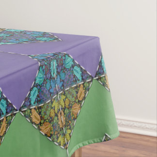 Quilting in Purple & Green Chevrons Tablecloth
