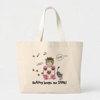 Quilting keeps me SANE! Totebag Large Tote Bag