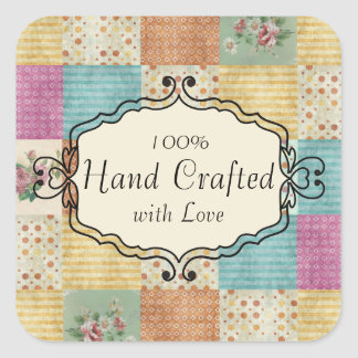 Quilting patchwork grunge quilter gift tag label