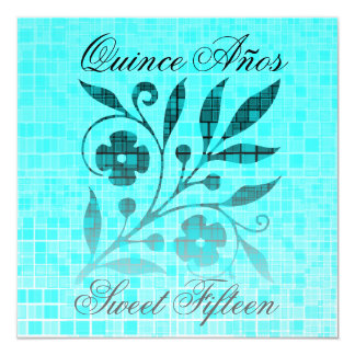 Quince Años Sweet Fifteen Invitation Blue Flower