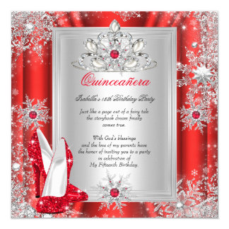 Quinceanera 15 Birthday Party Red Heels 2 Card
